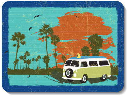 surfer: vintage wooden decoration wall with vacation