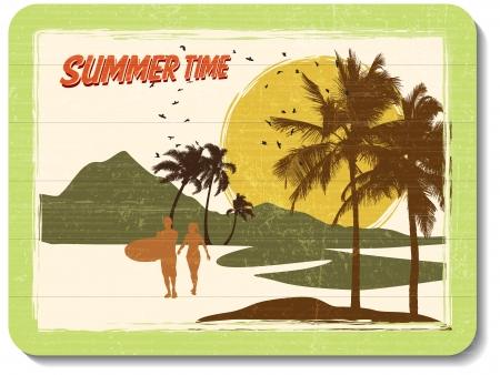 tabla de surf: muro, cosecha, decoraci�n de madera con el horario de verano