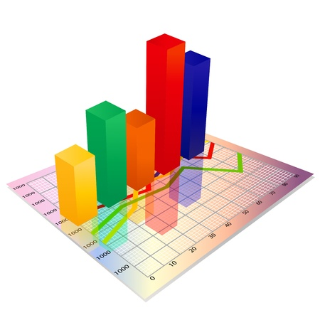 grafico vendite: 3d business graph Glassy colorito, grafico a barre Vettoriali