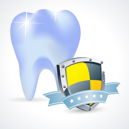 Protected teeth concept, Shiny toothprotective shield symbol Vector
