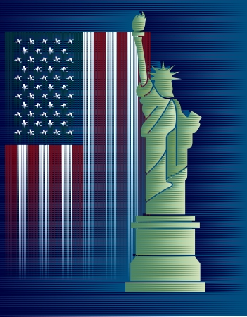 Flags USA and Statue of Liberty background drawing from Lines Stock Vector - 15899038
