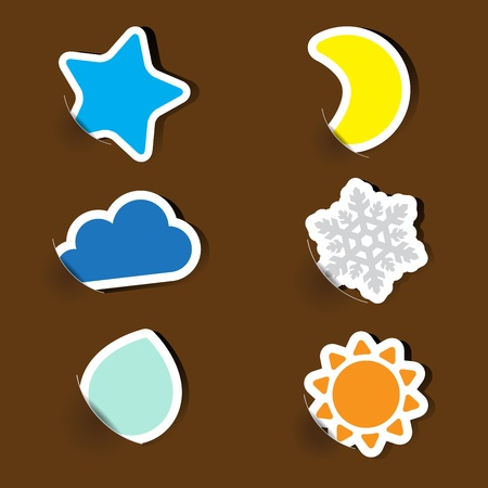 Colorful label paper weather icons Vector