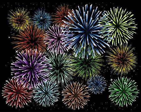 Brightly Colorful Fireworks and Salut on black background Stock Vector - 15976345