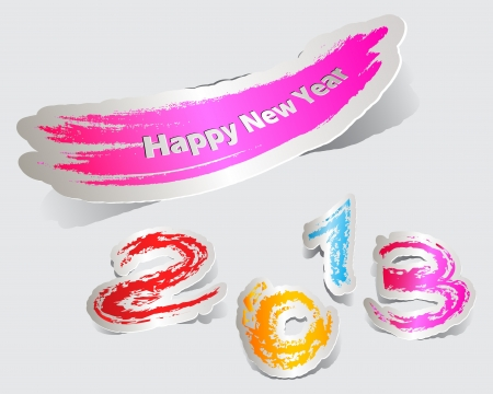 Colorful label paper brush stroke happy new year 2013 Stock Vector - 15976342