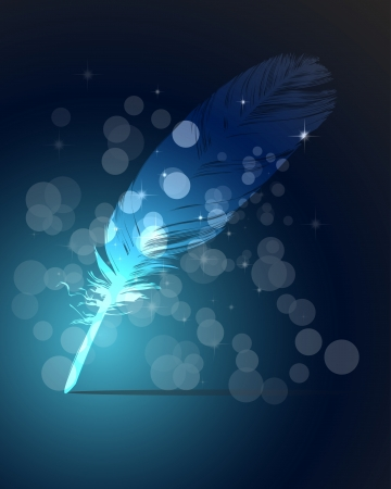 One Abstract blue writing feather and light Vector