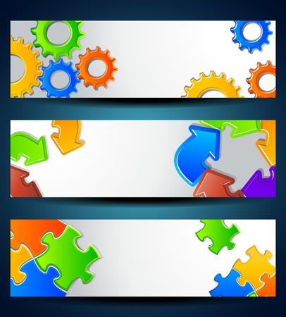 Conjunto de banners Gear horizontal, rompecabezas, las flechas para el concepto de negocio