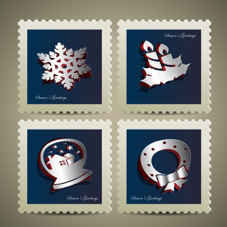 christmastide: set of merry xmas stamp