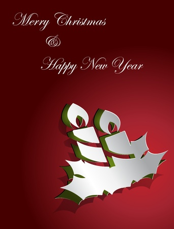 Christmas card design candle sticker paper cut Vector