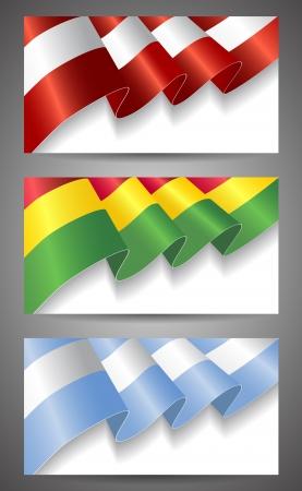 Austria, Bolivia,Argentina flags banner set