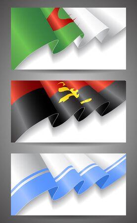 altai: Angola, Altai Republic, Algeria flags banner set