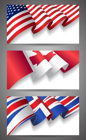 United States, Canada, United Kingdom flags banner set Vector