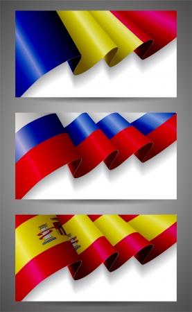 romania flag: Romania,Russia,Spain flags banner set Illustration