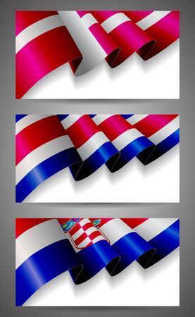 Denmark, Costa Rica, Croatia flags banner set Vector