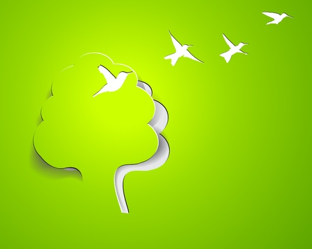 paper design composition with tree and birds Vector