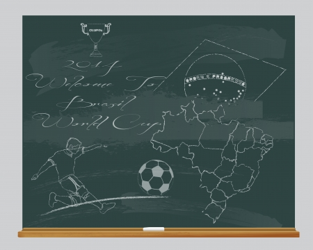 chalkboard with hand drawn 2014 welcome to football Brazil Vector