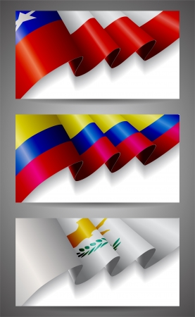 cyprus: Chile, Colombia, Cyprus flags banner set