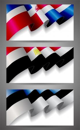 Dominican Republic, Egypt, Estonia flags banner set