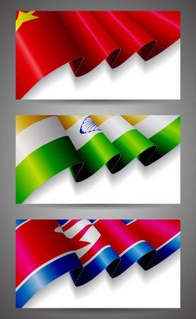 north china: China, India, North Korea flags banner set Illustration