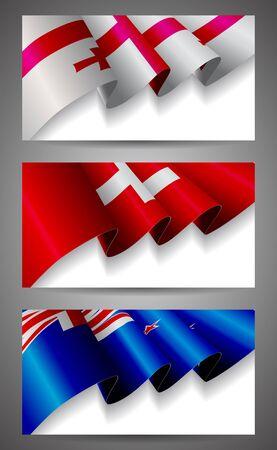 Georgia, Switzerland, New Zealand flags banner set Stock Vector - 16185833