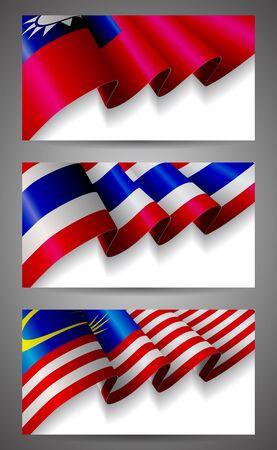 thai background: Taiwan, Thailand, Malaysia flags banner set