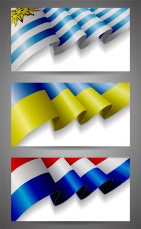 uruguay: Uruguay, Ukraine, Netherlands flags banner set