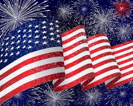 juli: USA vlag achtergrond met vuurwerk in de nacht
