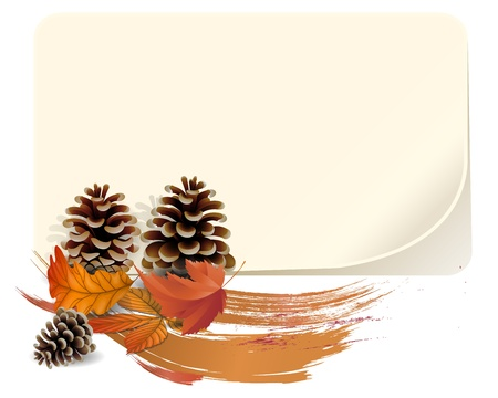 Autumn background with leaves and pine nuts