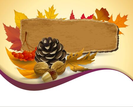 Autumn background with leaves and pine nuts Stock Vector - 16185846
