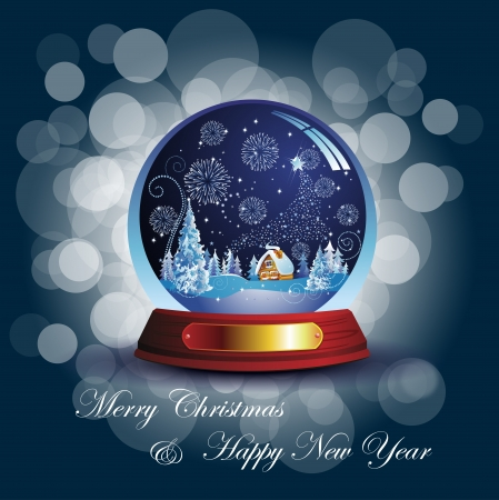 gold globe: Christmas card with snow globe