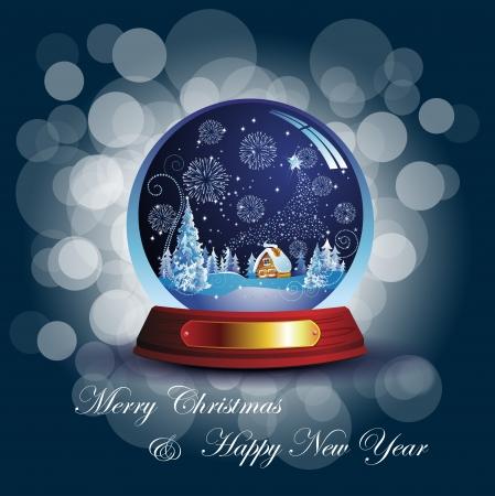 seasonal: Christmas card with snow globe