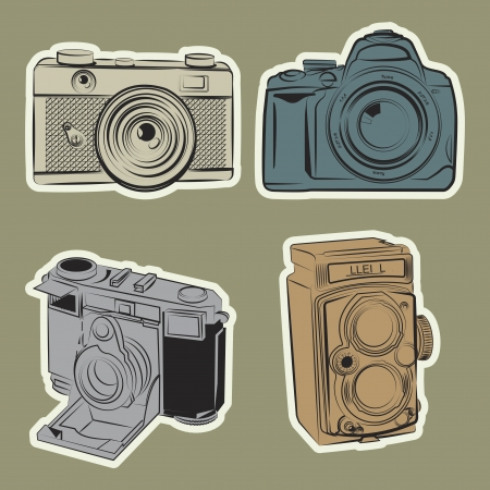 line art draw retro camera set Vector