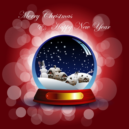 christmas snow globe: Christmas card with snow globe Illustration