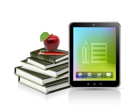 concepto de la educación, el libro, la manzana y la tableta Vectores