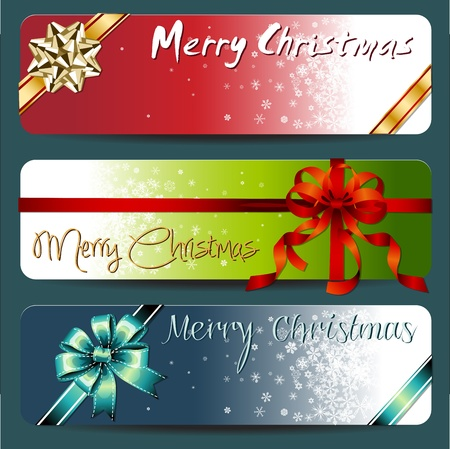 Merry Christmas Banner with ribbons and snowflake Stock Vector - 16293238