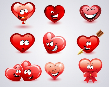 Collection Heart with laugh and smile Vector