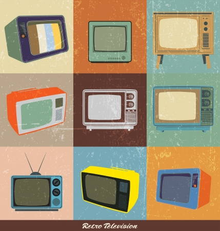film set: Collection of retro television with grunge Effect Illustration