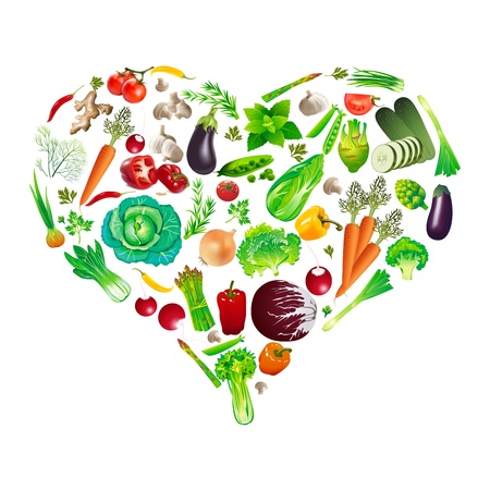 heart shape by various vegetables Vector