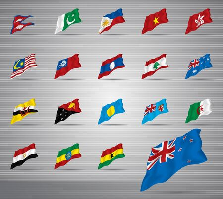 Vector of waved national flags Vector