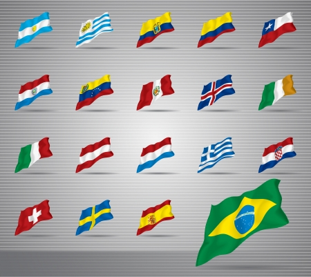 waved: Vector of waved national flags Illustration
