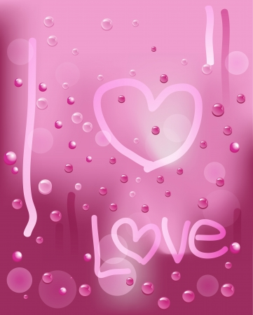 Pink Rainy window with heart and love background