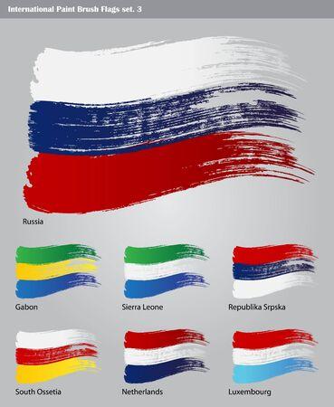 gabon: set of  International Paint Brush Flags