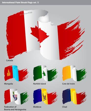 set of  International Paint Brush Flags Stock Vector - 16535792