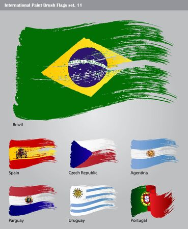 set of  International Paint Brush Flags