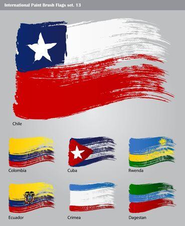 ecuador: set of  International Paint Brush Flags