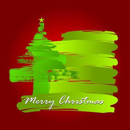 Christmas tree whit Paint Brush Stock Vector - 16535809