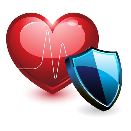 shield emblem: Ecg battito cardiaco e scudo