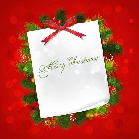 Red Christmas card with Paper,cones,Christmas ball Ilustração