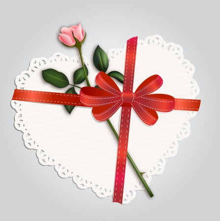 Paper lace heart and rose Vector