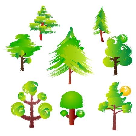 Various trees style Paint Brush Ilustração