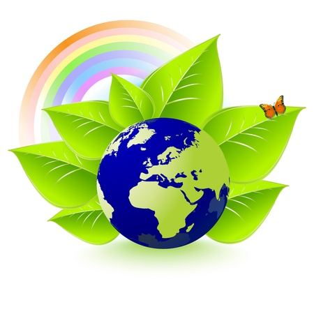 Eco Earth, leaves, rainbows, butterflies and environment Vector